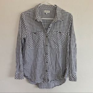 Lucky Brand Black & White Check Plaid Flannel S